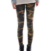 Damen Leggings Leggins Jegging Tregging Elastische Camouflage 7/8 Hose Freizeit