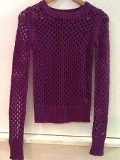 Arizona Jean Co. Mesh-Stitch Barcelona Purple Long Sleeve Sweater - Junior XS