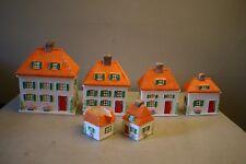 Vtg. Rare Lefton China Hand Painted 4 Piece Orange Cottage Houses Canister Set