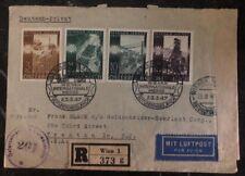 1947 Vienna Austria Airmail Cover Trenton Nj Usa International Fair