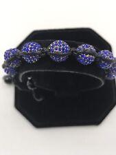 10 mm Shamballa Beaded Adjustable Bracelet Genuine Purple Hand Set Crystals