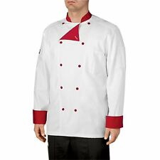 Chefwear Men Lined Cotton Traditional Chef Coat White with Red