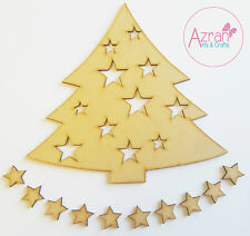 Wooden Star Christmas Tree Decoupage blank  Craft  Arts MDF 10 x free 20mm Stars