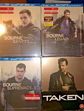 Set of 4 Sealed DVD/BLU-RAY Steelbook- TAKEN / BOURNE IDENTITY/LEGACY/SUPREMACY