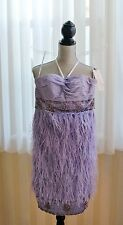 Solid Lavender SUE WONG Strapless Sequined & Feathered Formal Mini Dress US Sz 2
