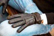 GUANTI UOMO PELLE CASHMERE NERO 100% Made In Italy Leather Gloves Black ELIANTO