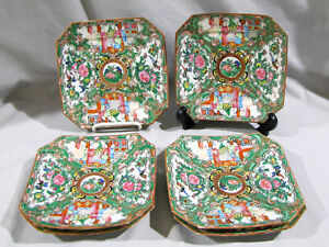 "6 Antique CHINESE ROSE MEDALLION SQUARE PLATES - 6 1/4"""