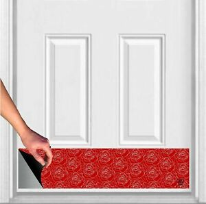 """Red Roses Print Magnetic Door Sign Kick Plate 8"""" x 34"""" and 6"""" x 30"""" Size Options"""