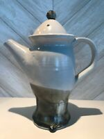 Vintage Handmade Studio Art Stoneware Drip Glaze Coffee Pot and Lid, Signed