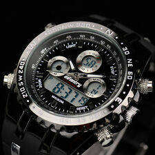 INFANTRY Mens Digital Quartz Wrist Watch Chronograph Military Sport Black Rubber