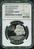 2001 CANADA $20 -THE MARCO POLO - NGC PF70 UC /w BOX & COA - HOLOGRAM