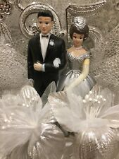 "25TH Silver ANNIVERSARY Wedding CAKE TOPPER 7.5"" Retro Wilton VINTAGE Hong Kong"