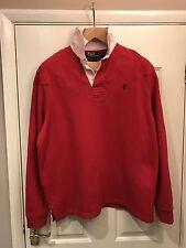 Authentique chemise homme Ralph Lauren Rugby Shirt taille XXL très bon état en coton rouge