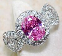 Must Have 3CT Pink Sapphire & Topaz 925 Sterling Silver Ring Jewelry Sz 7, SC1