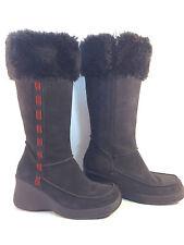 excellent SKECHERS gray-brown suede platform wedge fur cuff boots 7.5