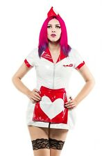 BNWT Phaze White/Red PVC Diner Queen of Hearts Mini Dress Sexy/Kinky/Fetish 16
