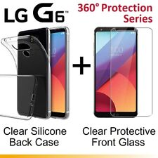 Front and Back Full Clear Tempered Glass Screen Protector Gel Case for LG G6