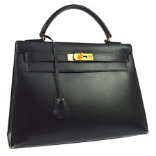 HERMES KELLY 32 SELLIER Hand Bag Black Box Calf Vintage Authentic JT08644g