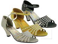 Ladies New Strictly Wedding Party Block Heel Pin Buckle Women Dressy Sandals
