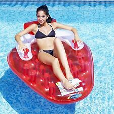 Inflatable Strawberry Shaped Float Air Pool Beach Lounger Lounge 165cm x 120cm