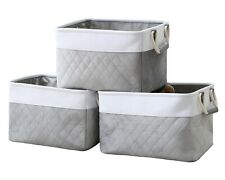 3-Pack Large Storage Basket Rectangular Fabric Foldable Organizer Storage Bin