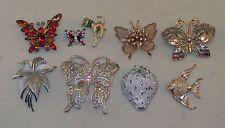 Vtg Lot Pins Brooch Trifari Sarah Coventry Monet Butterflys Strawberry Fish Cat