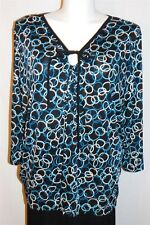 4X Studio 1940 Women Plus Size Blue Black White Print Keyhole Stretch Top NWT