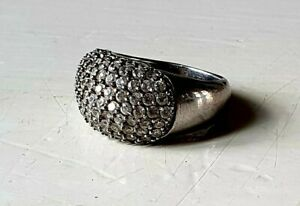 Vintage silver ring with zirconia's  , period 20th c (?) , silvermarked