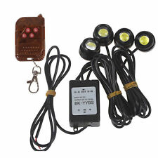 4pcs White LED Eagle Eye Knight Night Rider Scanner Lighting DRL+Remote Control