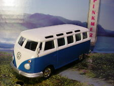Greenlight CAMPSITE Cruisers VOLKSWAGEN 21 WINDOW SAMBA BUS✰blue/white VW✰LOOSE
