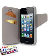 ETUI A RABAT iPHONE 4 4S FOLIO UV BLANC ECO-CUIR (PU)