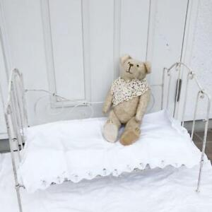 Antique French Wrought Iron Day Bed Folding white garden bench F/S from JAPAN