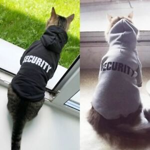 Security Cat Clothes Pet Coats Jacket Hoodies Cats Outfit Warm Clothing Costume