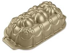 Nordicware ELEGANT PUMPKIN LOAF PAN Autumn 3D Gold-toned SPECIAL Edition *NEW