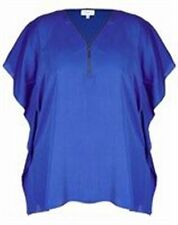 Long Batwing Sleeve, Zipper Neck Line Blue Ladies Tunic Size 22 (Free Post)