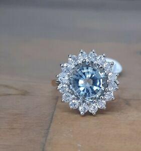 9ct Gold Aquamarine And Diamond Cluster Ring