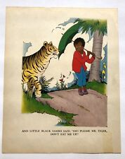 "Vintage LIttle Black Sambo Book Picture ""Oh Please Mr Tiger Don't Eat Me Up!"