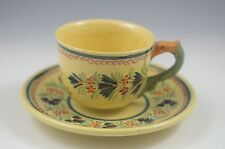 VTG  H.QUIMPER FAIANCE SOLEIL DRAGON HANDLE  BRETON LADY  CUP AND SAUCER SET