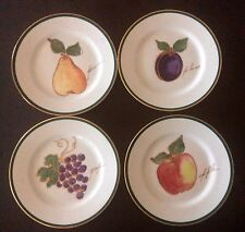 "CRATE & BARREL FRUIT THEMED 8"" SALAD/DESSERT PLATES APPLE, PEAR, PLUM, GRAPES"