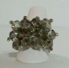 Stretch Ring w Champagne Crystals & Glass Beads Fit to size 10 Handmade