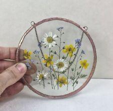 Pressed flower frame - botanical hanging with pressed flowers in floating frame