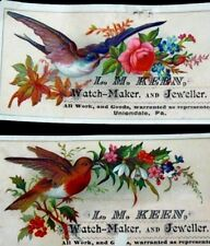 Lot of 2 L.M Keen Watch-Maker & Jeweller, Birds Flowers Berries Images F2