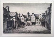 Fine Antique/Vintage Etching: Scottish James MACINTYRE House & Courtyard Framed