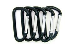"""12 pack of 3"""" Aluminum Carabiner Spring Belt Clip Key Chain D Shape Black  Color"""