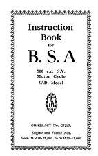 W.D BSA M20 500cc S.V. instruction book