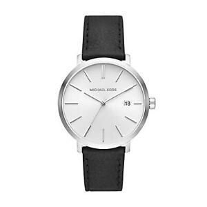 Michael Kors MK8674  Silver Sunray Dial Men's Black Leather Watch $175