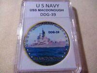 U.S United States NavyUSS Dahlgren DDG-43Gold Plated Challenge Coin