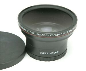Professional HD DSLR MC AF 0.43x Super Wide/Macro Angle Lens W/58mm Thread Japan