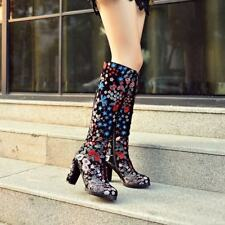 Retro Womens Embroidery Floral Side Zip Block Heels Knee High Boots Suede Shoes