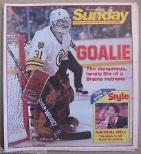 """October 1985 The Boston Herald """"Sunday"""" Magazine featuring Boston Bruins Goalie"""